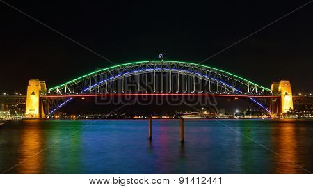 Sydney Harbour Bridge Illuminated In Colours For Vivid Sydney