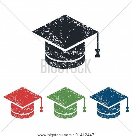 Academic hat grunge icon set