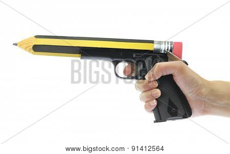 Hand holding gun with pencil point isolated on white