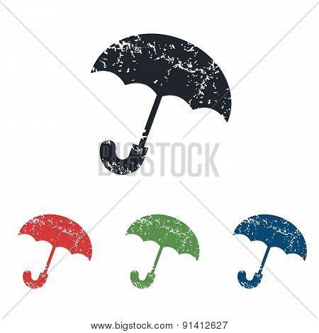 Umbrella grunge icon set