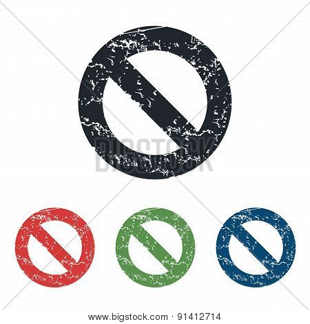 NO sign grunge icon set