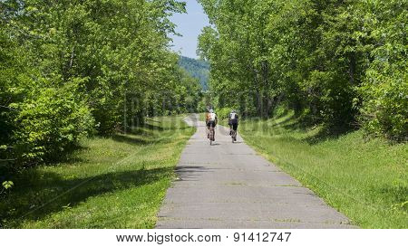 Two Men Bicycling on a Trail. Green Tree Foliage and Sunshine.
