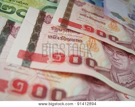 100 Banknotes Of Thai Baht Money Background