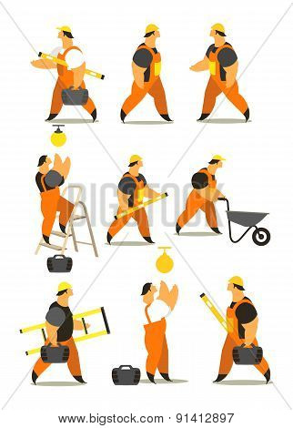 Set Of Workers In Working Clothes