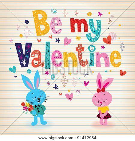 Bunnies in love Valentine's day retro card