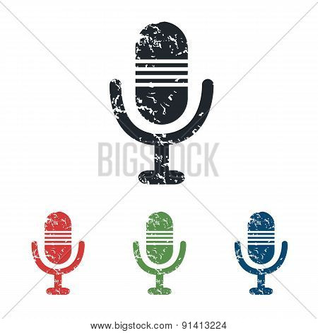Microphone grunge icon set