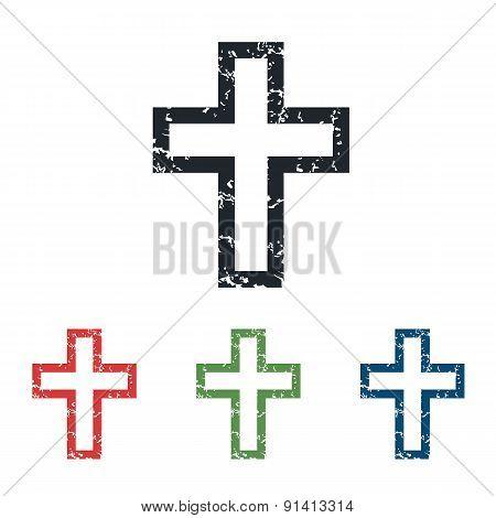 Christian cross grunge icon set