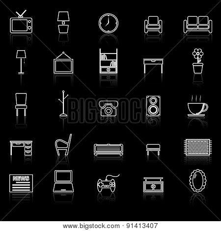 Living Room Line Icons With Reflect On Black