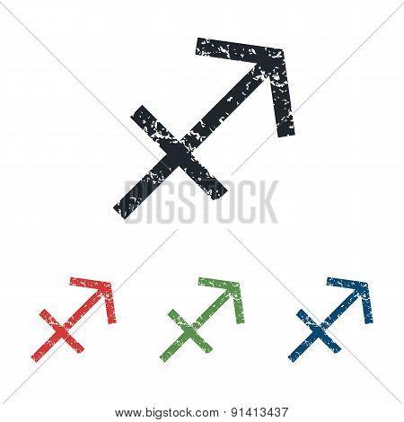 Sagittarius grunge icon set