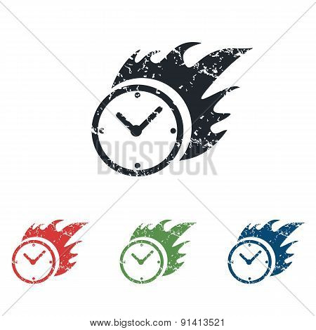 Burning clock grunge icon set