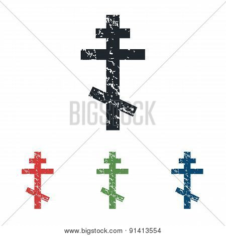 Orthodox cross grunge icon set