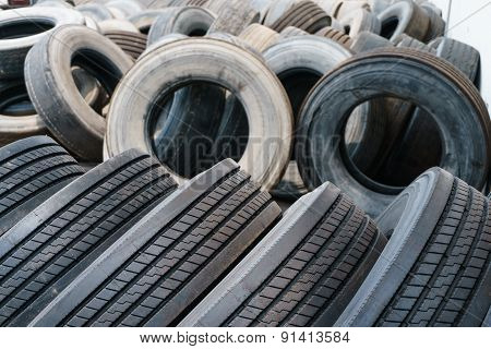 Tire Stack Background, Used Car Ties Selective Focus
