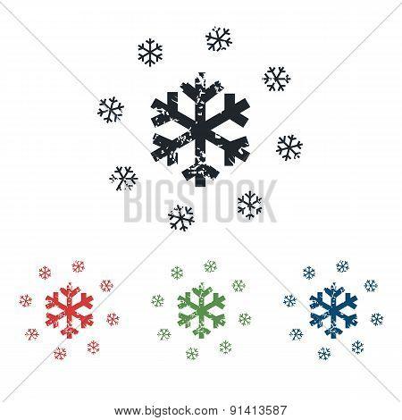 Snowflakes grunge icon set