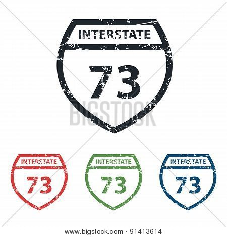 Interstate 73 grunge icon set
