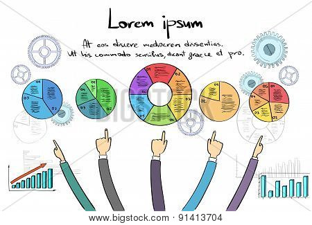 Infographics Logo Business People Hand Draw Point Finger