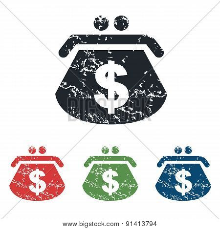 Dollar purse grunge icon set