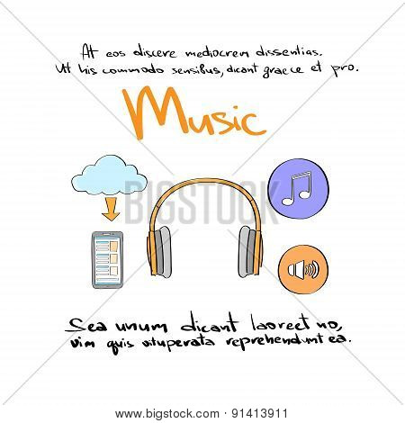 Music Icon Hand Draw Color Logo Set Collection Vector