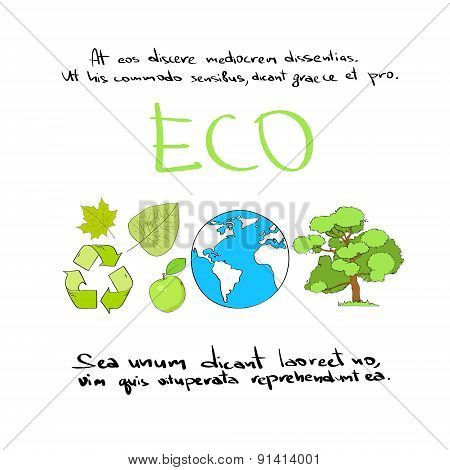 Eco Hand Draw Icon Set Green Logo Collection Vector