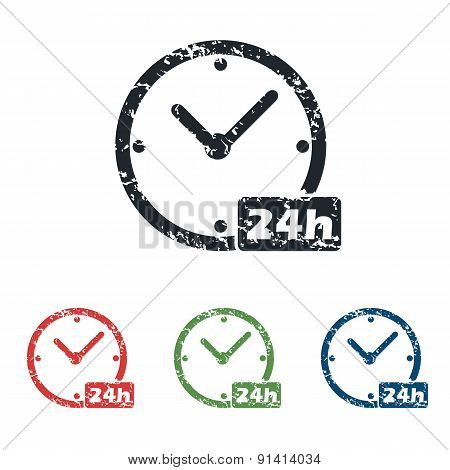24h workhours grunge icon set