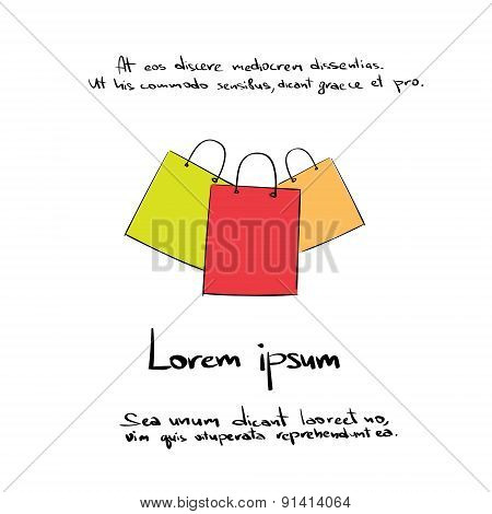 Shopping Bag Hand Draw Logo Color Icon