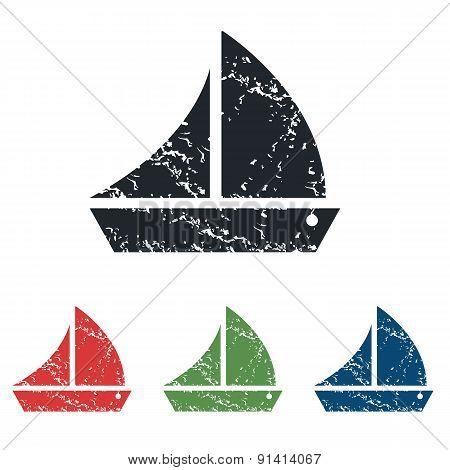 Sailing ship grunge icon set