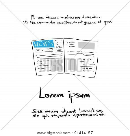 Newspaper Hand Draw Color Icon Vector