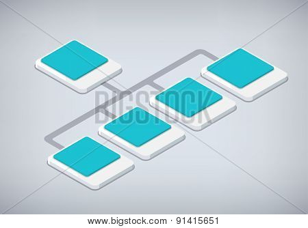 Isometric Organization And Sturcture. Flat 3D Organization Pop-up From Ground. Vector Illustration