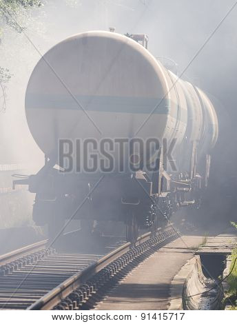 Tanker Train In Smoke