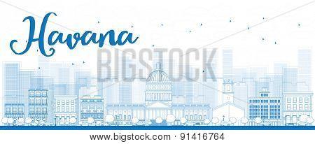 Outline Havana Skyline with Blue Building. Vector Illustration