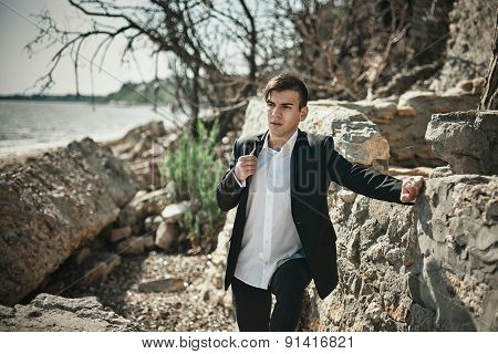 Fashion photo of the man on a seaside