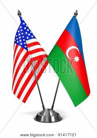 USA and Azerbaijan - Miniature Flags.