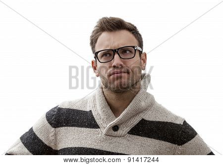 Portrait Of A Yound Perplexed Man