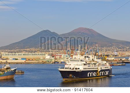 Panorama Of Naples, View Of The Port In The Gulf Of Naples And Mount Vesuvius