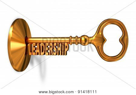 Leadership - Golden Key is Inserted into the Keyhole.
