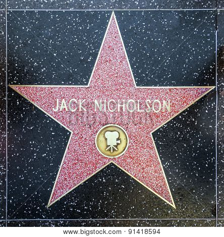 Jack Nicholson's Star On Hollywood Walk Of Fame