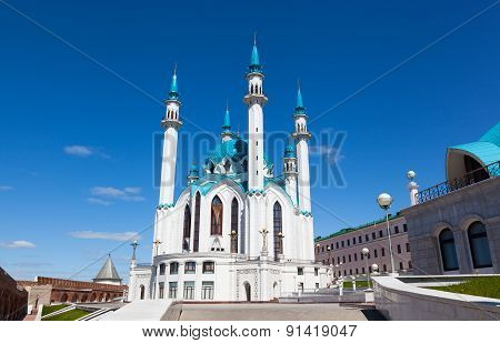 Qol Sharif Mosque Against The Blue Sky With White Clouds, Kazan, Russia