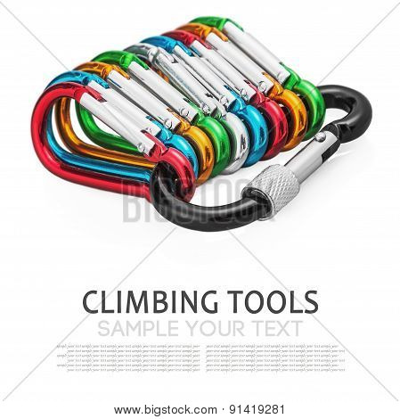 Colorful Carabiner Climbing Isolated On White