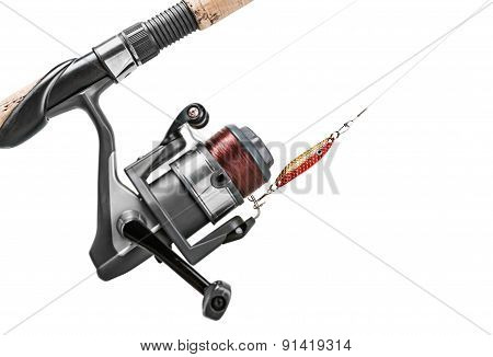 Fishing Rod And Lure Isolated On White