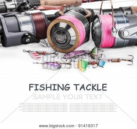 Fishing Tackle Spinning Isolated On White Background