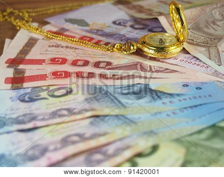 Valuable Time With Money, Banknotes And Gold Watch With Necklace
