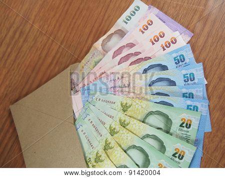 Thai Baht Money, Arranged Banknotes In Brown Envelope