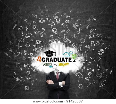 A Student Is Pondering Over The Graduation Process In The University. Cloud With The Educational Ico