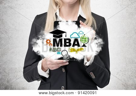 Blonde Business Lady Is Holding A Cloud With Business Education Icons. A Concept Of The Mba Degree.