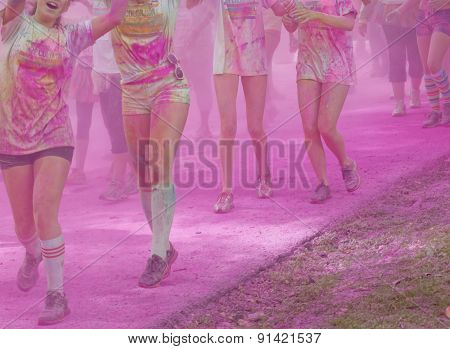 Group Of Young Woman Totally Coverd With Pink Color