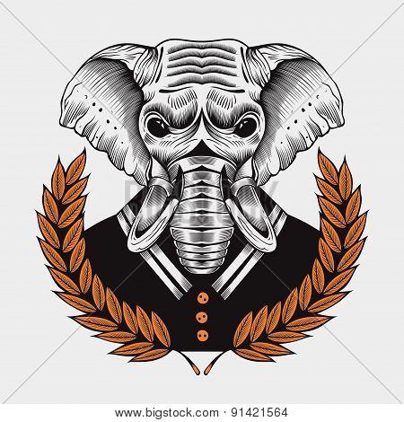 Illustration of elephant, framed by laurel branches.