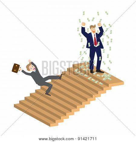 Business Man Cheer On Top Of Stairs And Someone Falling Down, Vector, Illustration