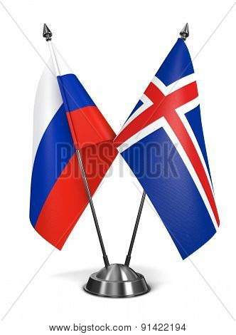 Russia and Iceland - Miniature Flags.