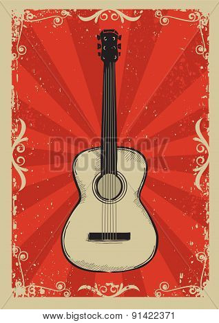 Vintage Red Poster With Guitar