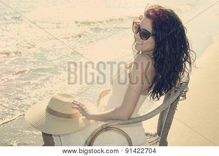 Fashion Girl On The Beach Warm Filer Applied