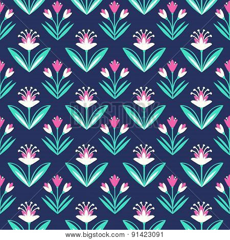 Seamless pattern with decorative floral ornament on dark blue background